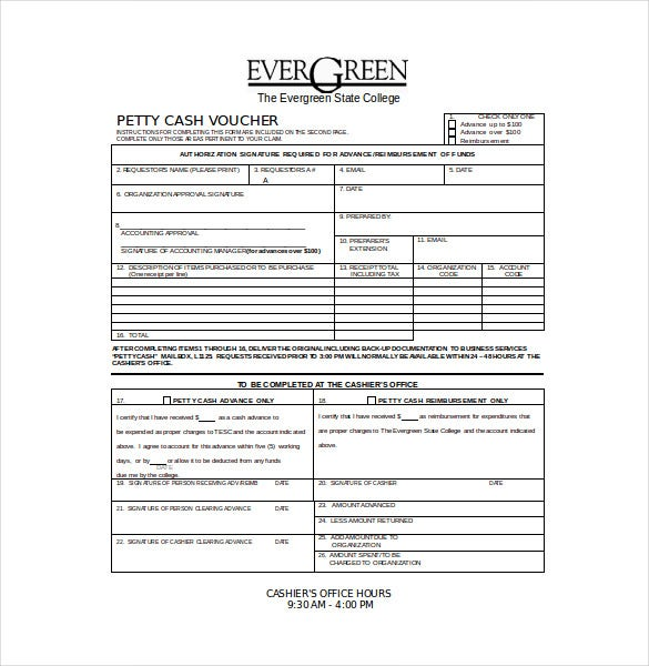 Petty Cash Voucher Free Download  Petty Cash Receipt Sample