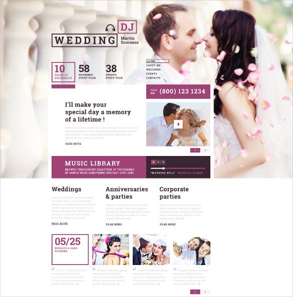 wedding dj responsive website template