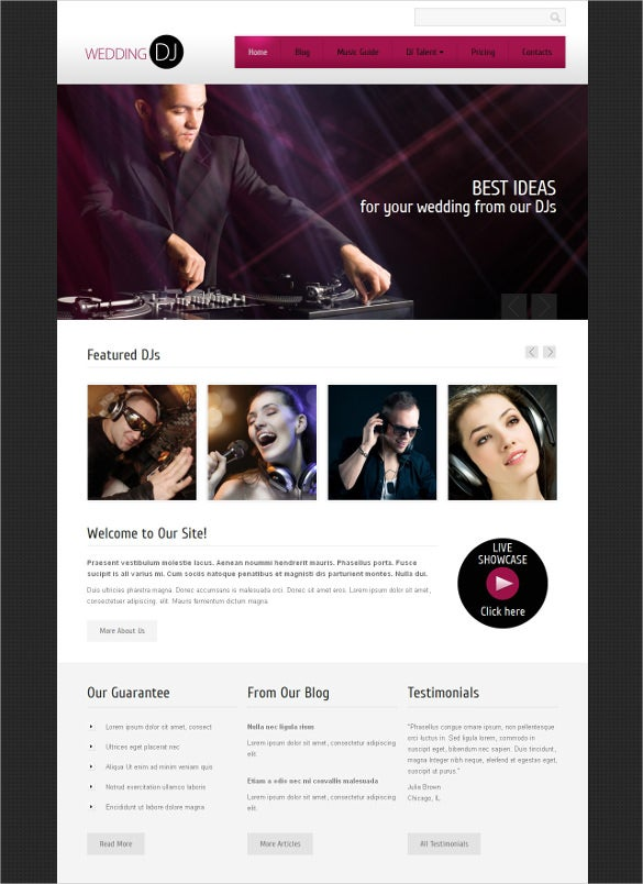 personal dj website page drupal template