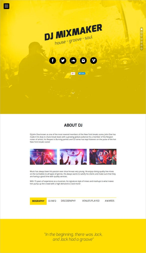 dj website muse template
