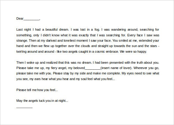 sample beautiful dream love letter template