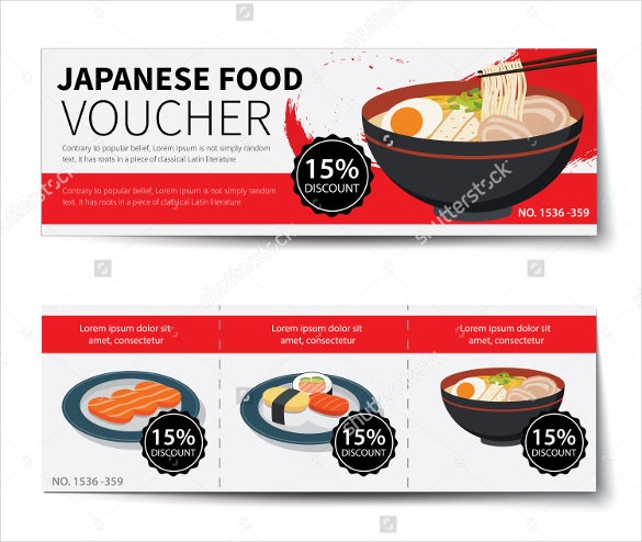 Japanese Food Voucher Discount Template Design Download
