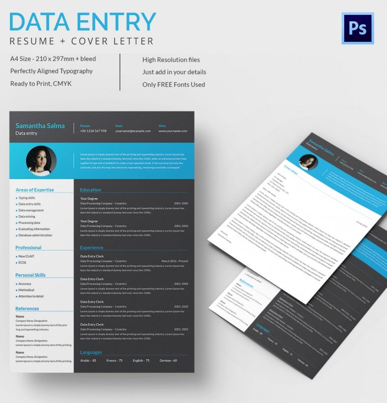 Data Entry Resume + Cover Letter Template  Data Entry Experience
