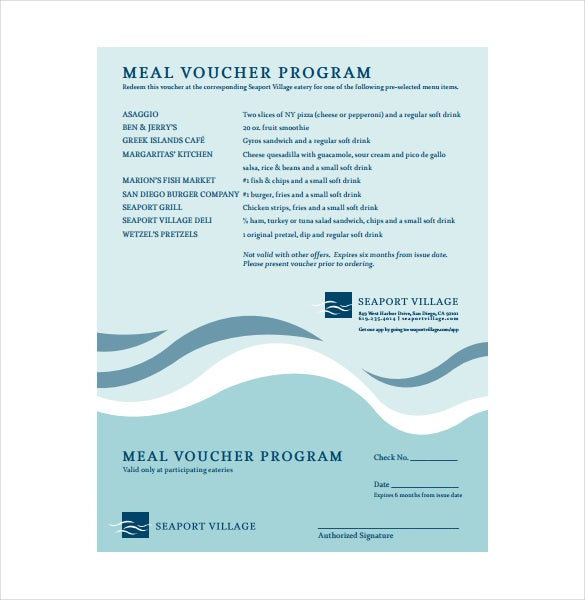 meal voucher program template free download