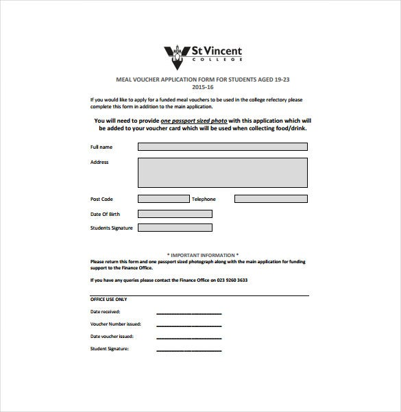 meal voucher application form free pdf template download