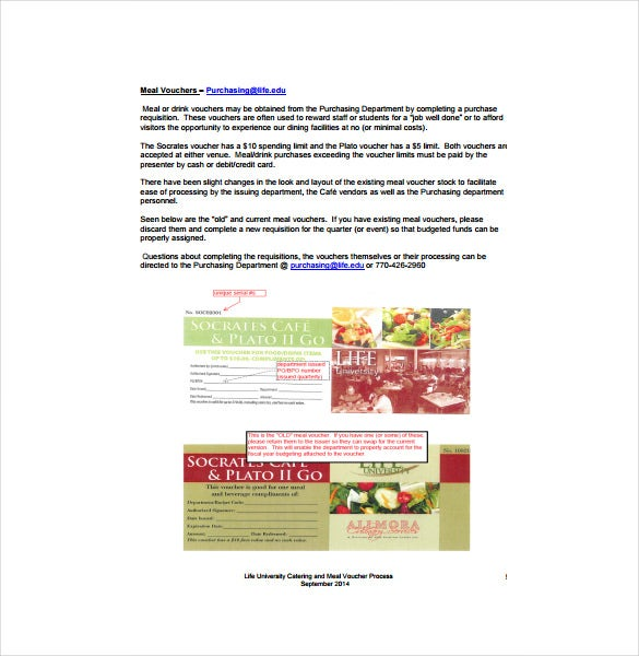 catering process of meal voucher free pdf template download