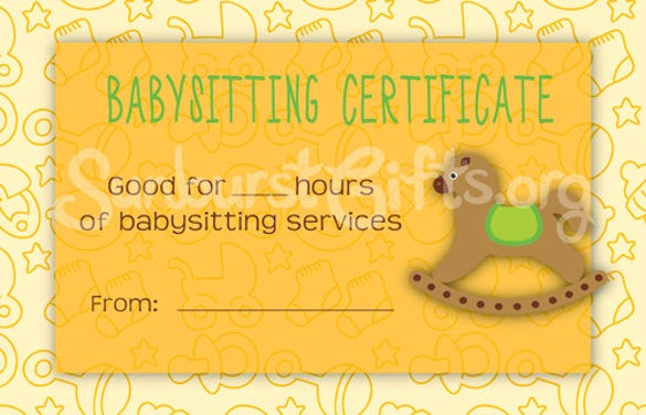babysitting gift certificate voucher download