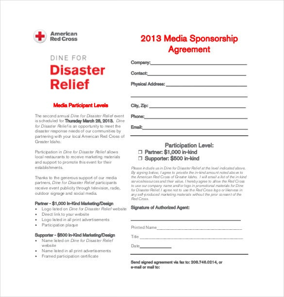 Media Sponsorship Agreement Template PDF Format