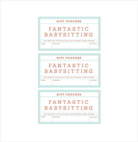 fantastic babysitting voucherfree pdf template download