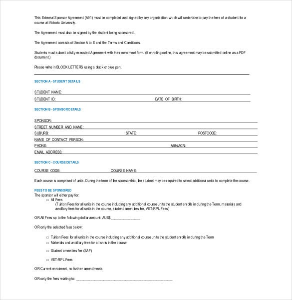 Blank Sponsorship Agreement Form Template Download  Blank Sponsor Form