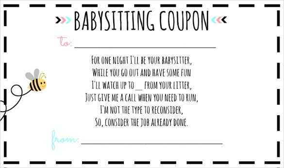 Example Babysitting Coupon Voucher Template Download  Fun Voucher Template