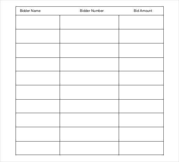 silent auction bid sheet free pdf format template