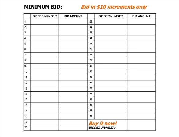 Silent auction bid sheet template 21 free word excel pdf silent auction bid sheet pdf free template thecheapjerseys Choice Image