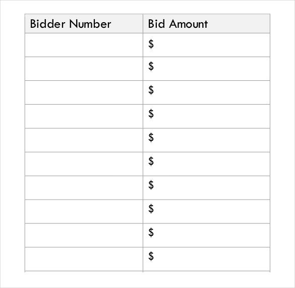 Silent Auction Bid Sheet Template 29 Free Word Excel PDF – Bid Sheet Template Free