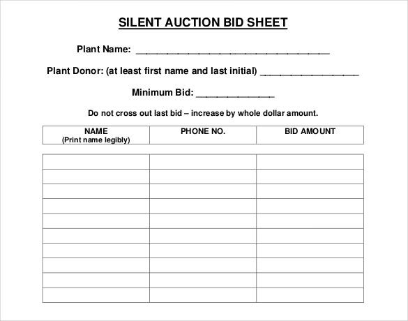 Fotos - The Format Silent Auction Item Bid Sheet By Bid Number And No ...