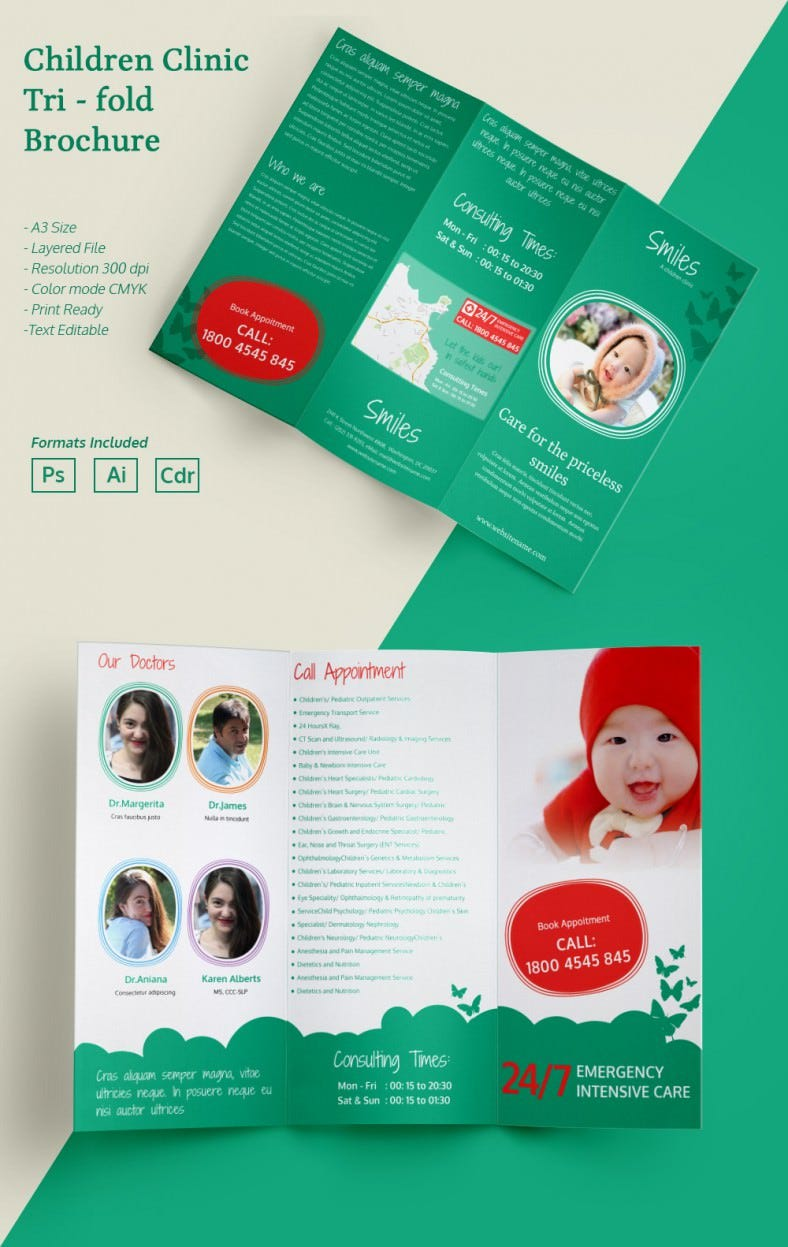 attractive children clinic a3 tri fold brochure template childrenclinic_a3trifold_brochure