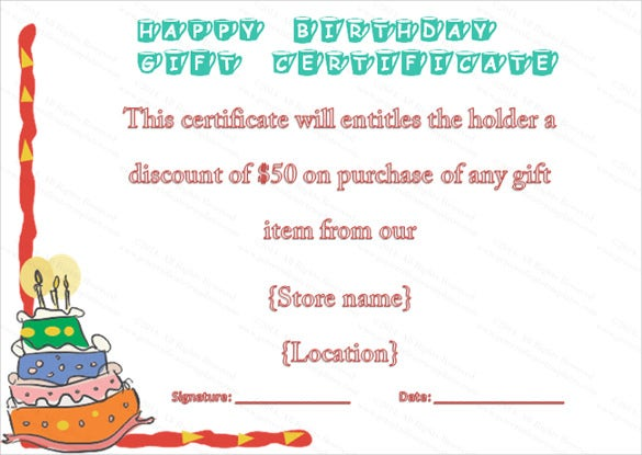 birthday gift certificate voucher template download