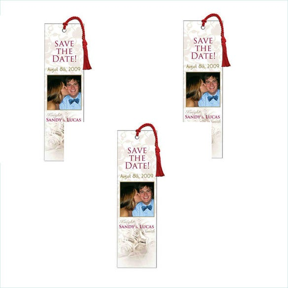 weeding bookmark template with couple image
