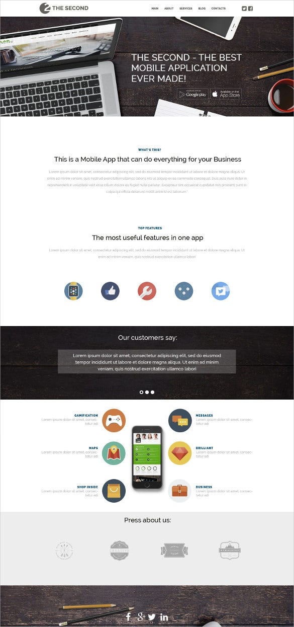 mobile applications wordpress bootstrap theme