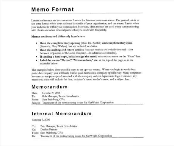 Internal Business Memo Format  Memo Templates