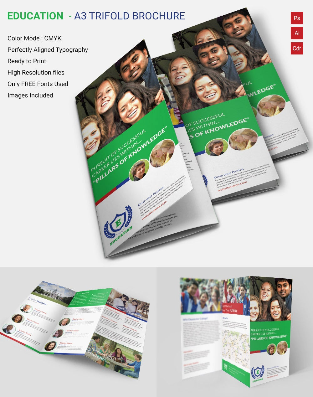 Attractive Education A3 Tri Fold Brochure Template