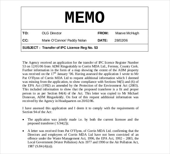 Sample Internal Memo Format  Memo Templete
