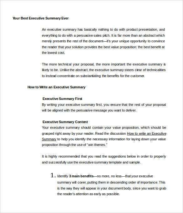 Your Best Executive Summary Ever Template Free Sample  It Executive Summary Template