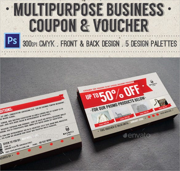 multipurpose business coupon voucher template download