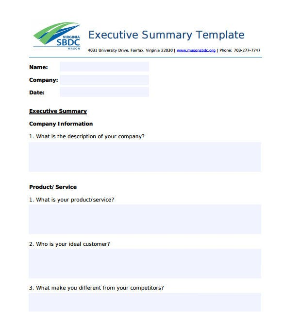 editable university executive summary template pdf download