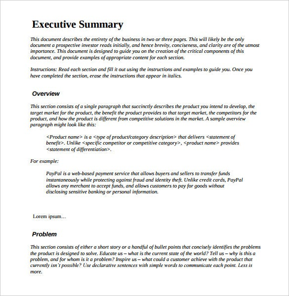 project executive summary example