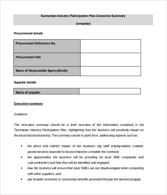 sample industry participation executive summary template