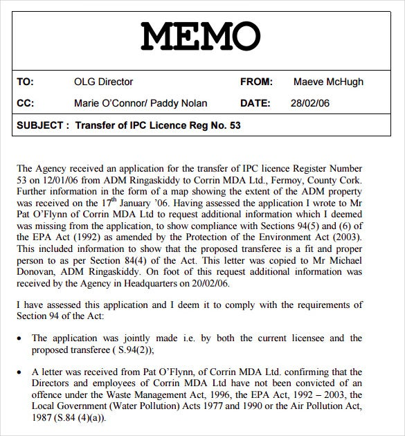 Great Free Download PDF Format Internal Memo Template