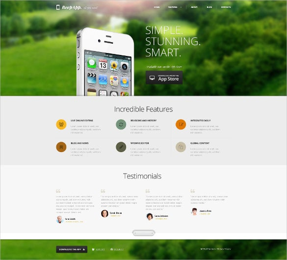 iphone applications wordpress bootstrap theme