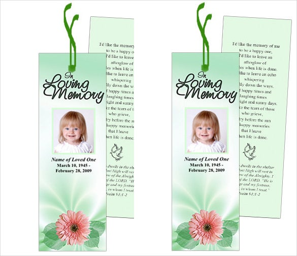 baby funeral bookmark template