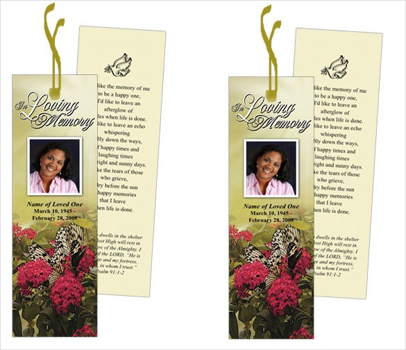 Funeral bookmark template free for Free memorial bookmark template download