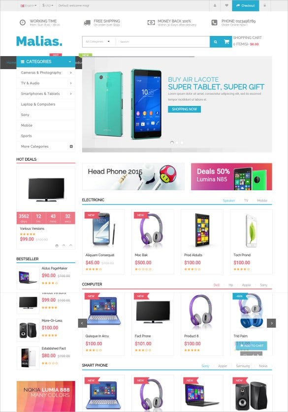 responsive electronic store opencart theme