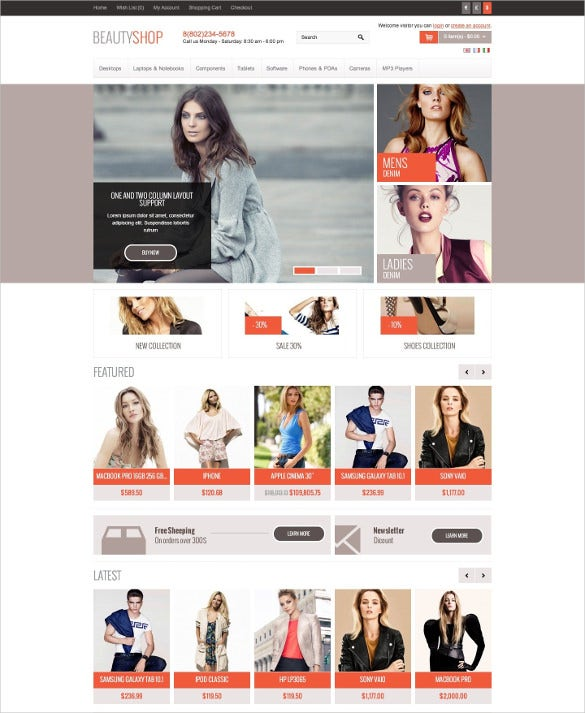 responsive beauty opencart theme
