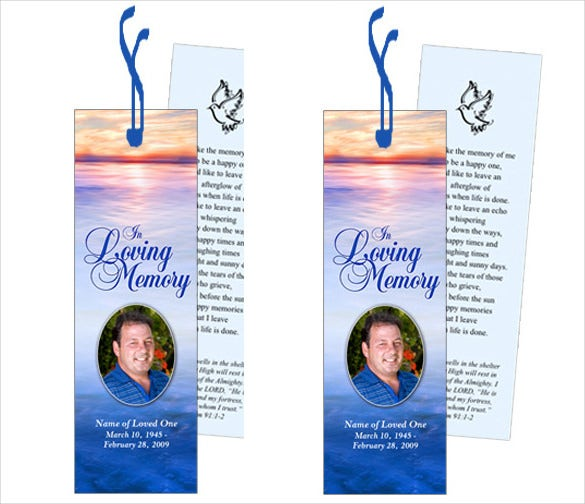 elegant funeral bookmark template