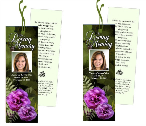 funeral bookmark template ready to download