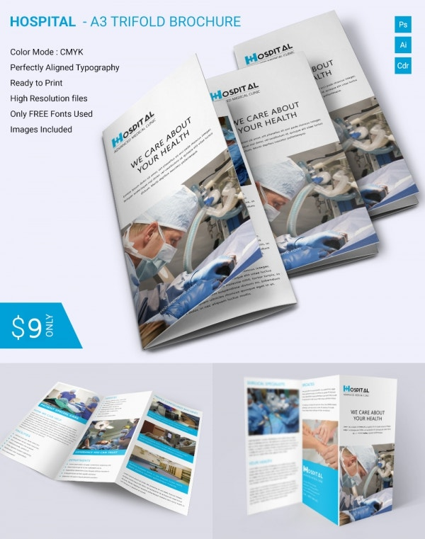Simple Hospital A3 Trifold Brochure Download – Hospital Flyer Template