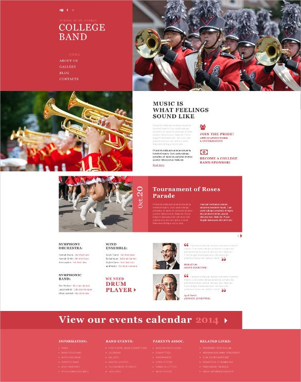 college music band responsive website template