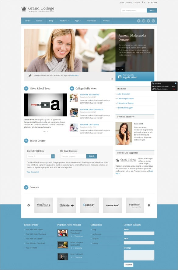 college education wordpress website theme