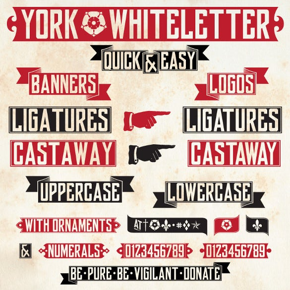 york whiteletter art deco banner font download