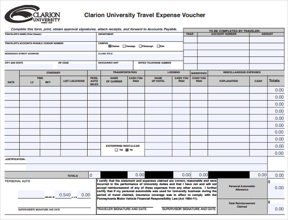 clarion university travel expense voucher template