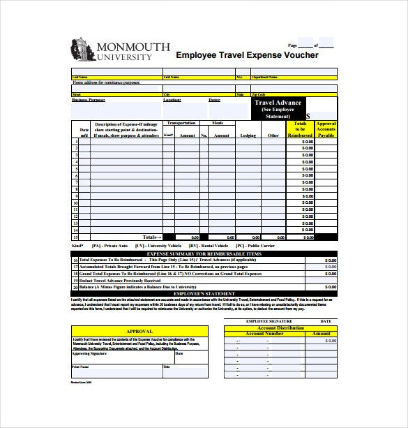 employee travel expense voucher free pdf template download