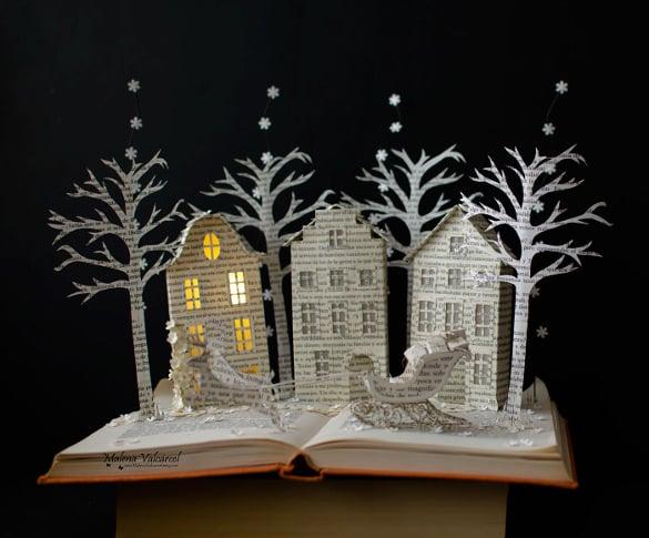 christmas book 3d paper art1