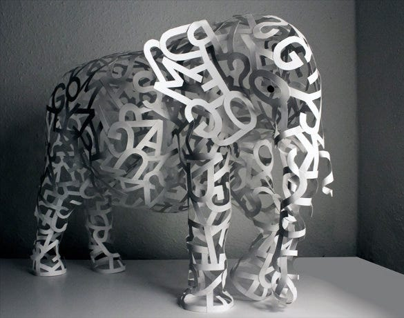 awesome elephant art with paper 3d sculpture