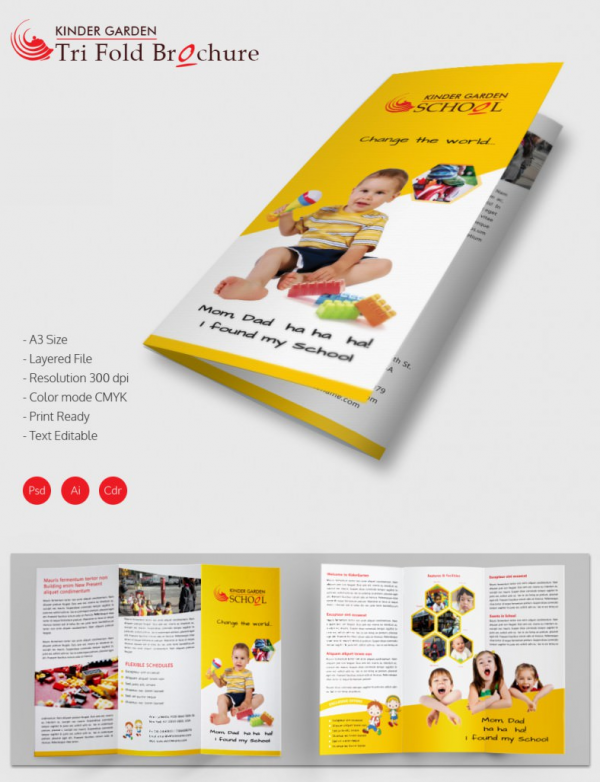 Adorable Kindergarten School A Trifold Brochure Download Free - Tri fold school brochure template