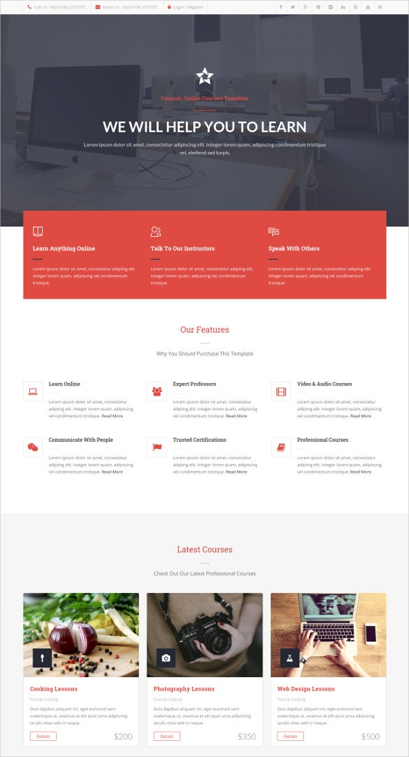 Educational institute free psd website template | psd templates.