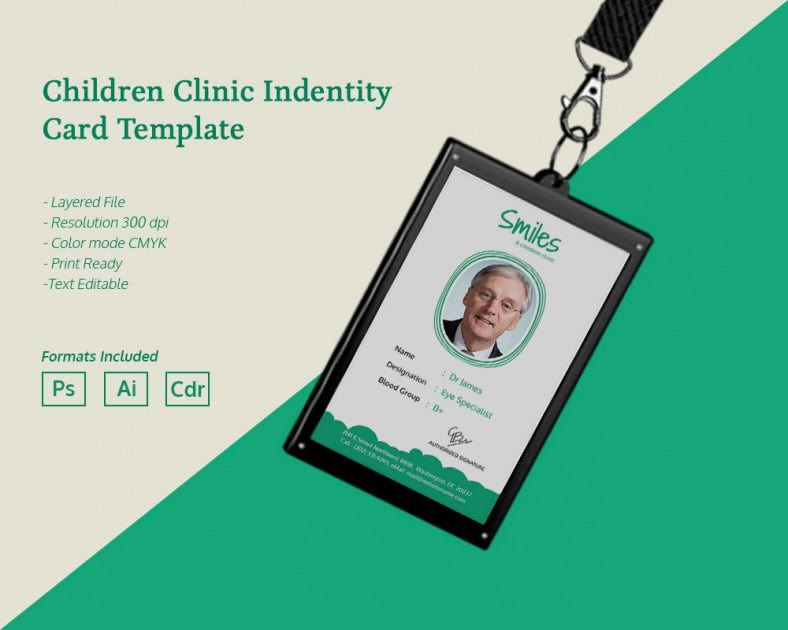 Simple Children Clinic Identity Card Template  Free  Premium